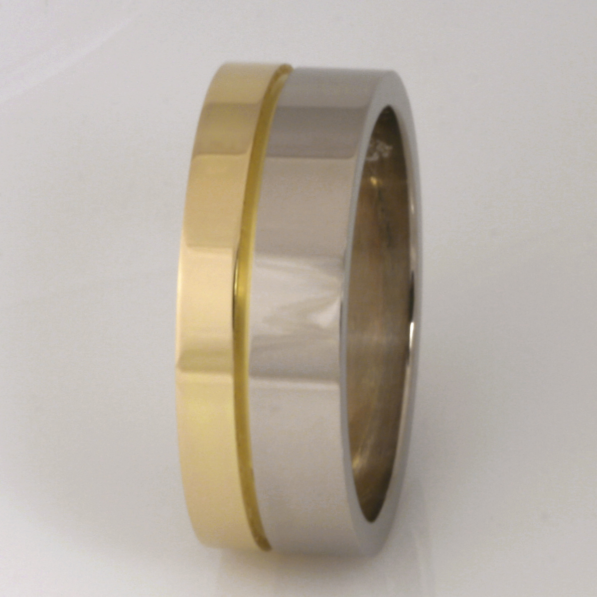 Handmade gents 18ct yellow and white gold wedding ring