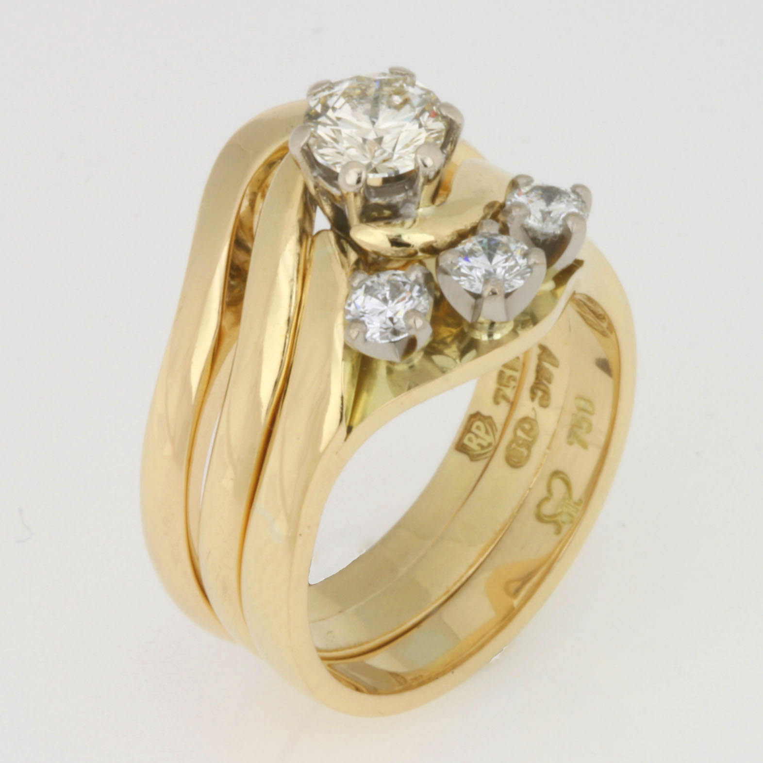 Handmade ladies 18ct yellow gold diamond wedding, engagement and eternity ring set