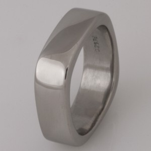 Handmade gents palladium square wedding ring