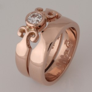 Handmade ladies 18ct rose gold diamond wedding set