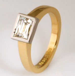 """The Kimberley"" 18ct yellow gold and palladium 'Tycoon' cut diamond ladies engagement ring"