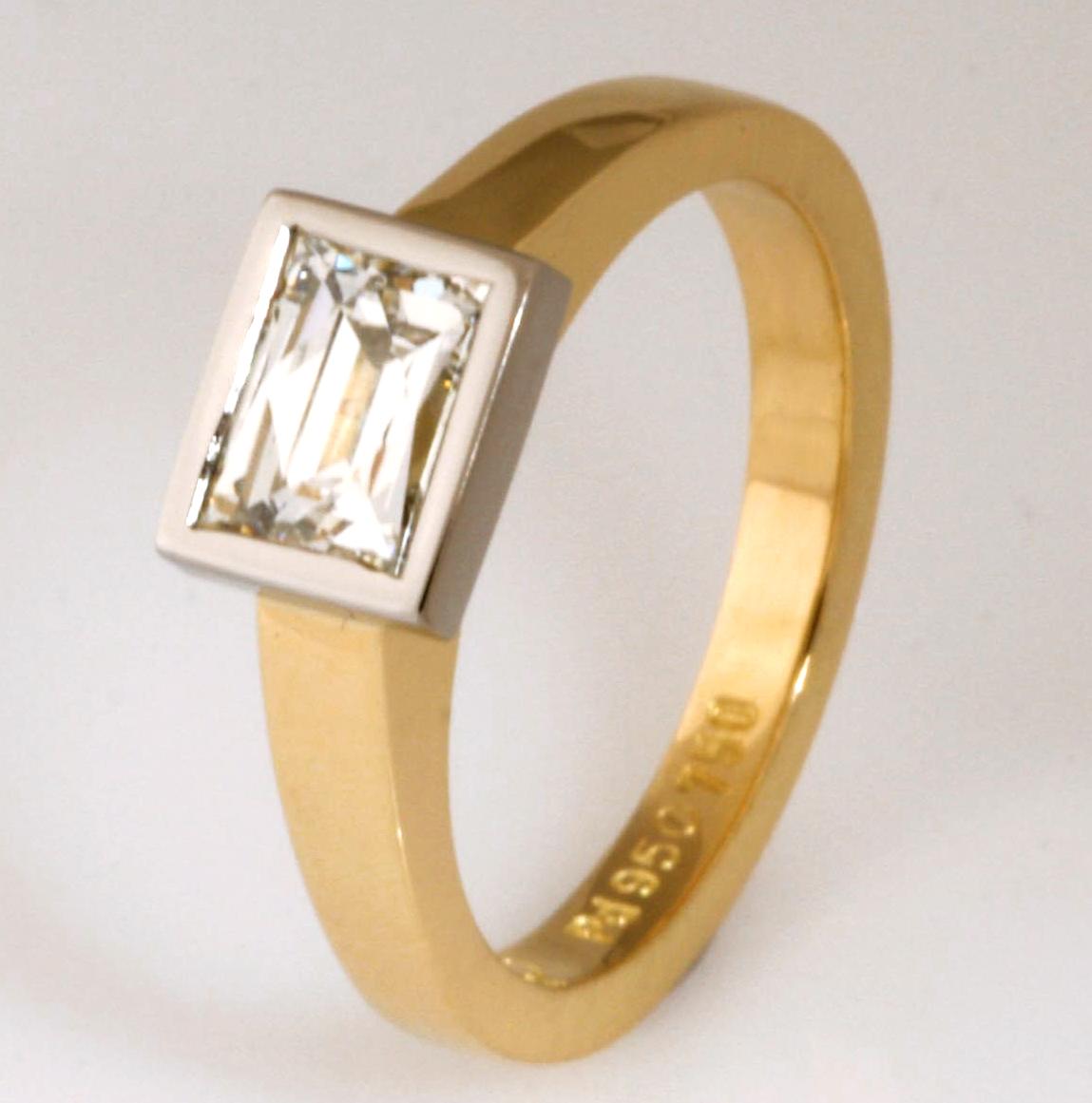 """The Kimberley"" 18ct yellow gold and palladium 'Tycoon' cut diamond ladies engagement ring"