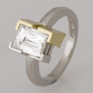 Handmade ladies 18ct green gold and platinum 'Tycoon' cut diamond ring