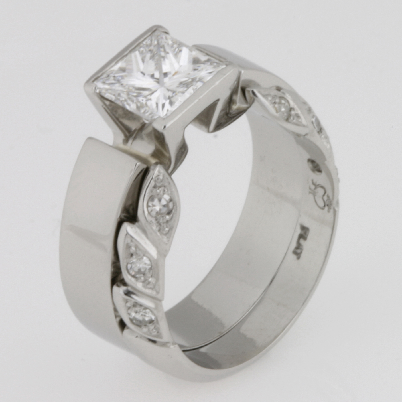 Handmade ladies platinum diamond engagement and wedding ring set