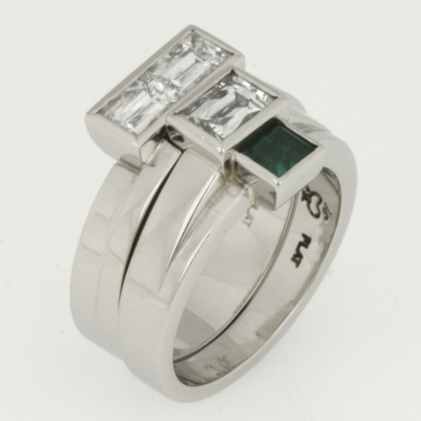 Handmade ladies 'Tycoon' cut diamond and emerald platinum wedding set