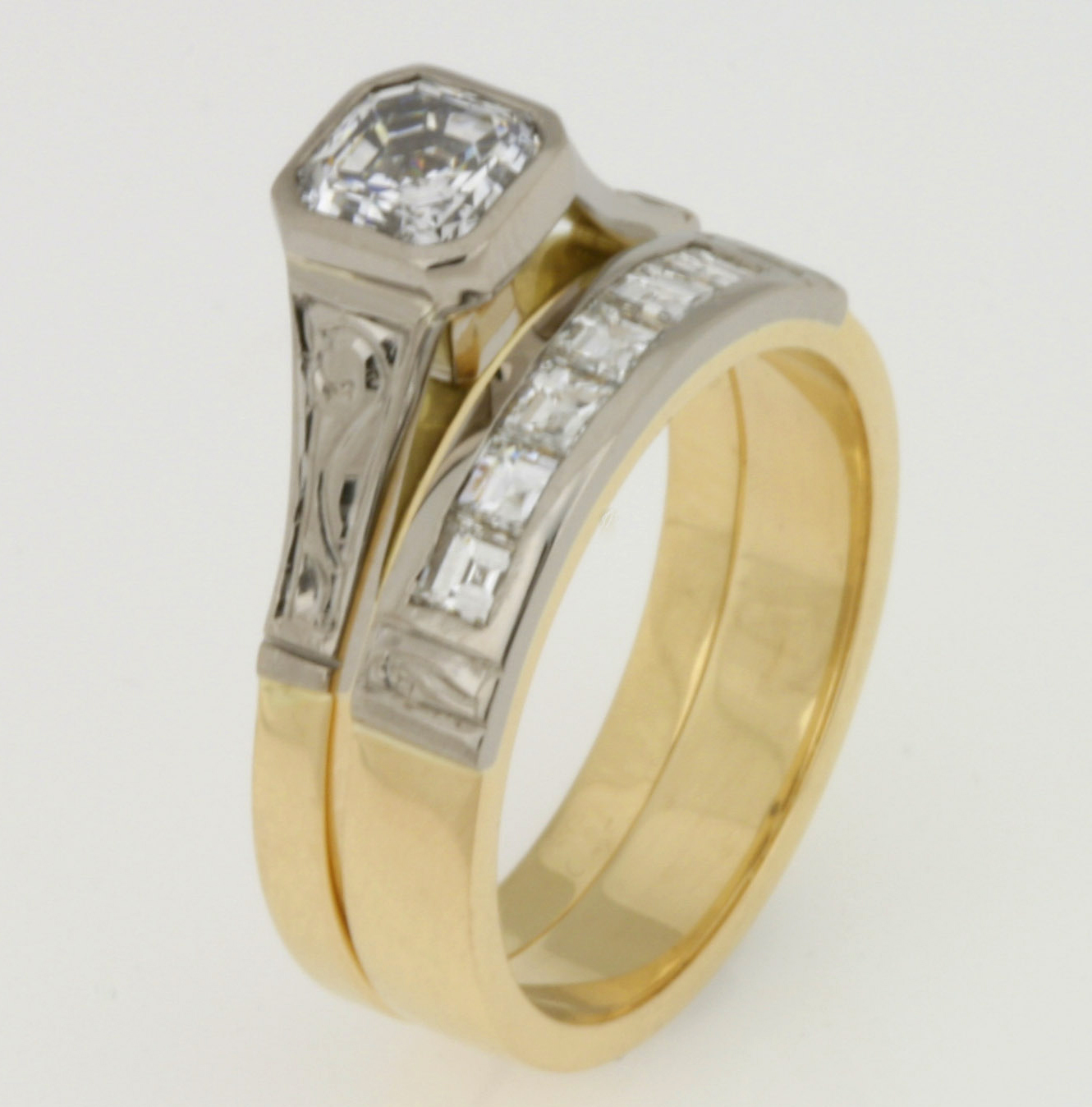 Handmade ladies 18ct yellow and white gold diamond Wedding ring set