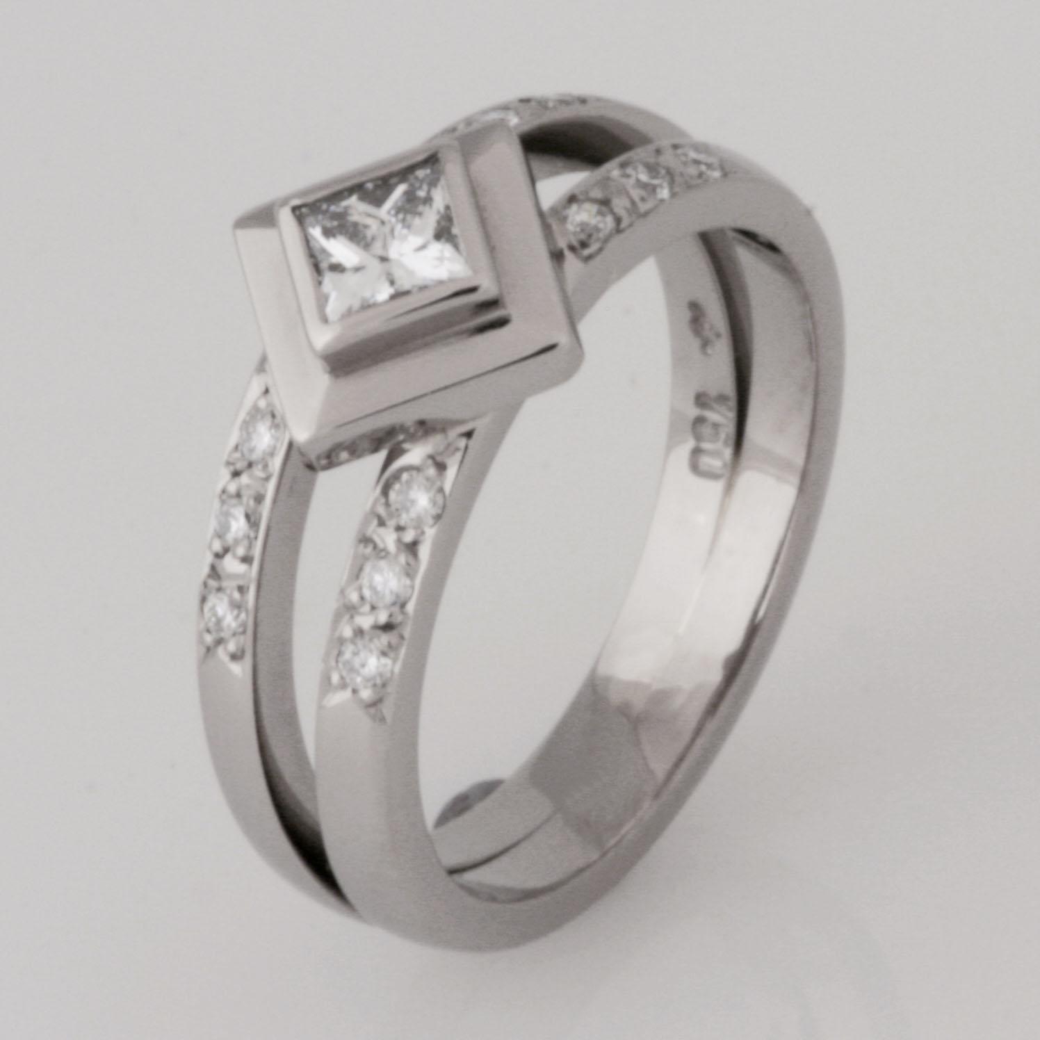Handmade ladies 18ct white gold princess cut diamond engagement ring