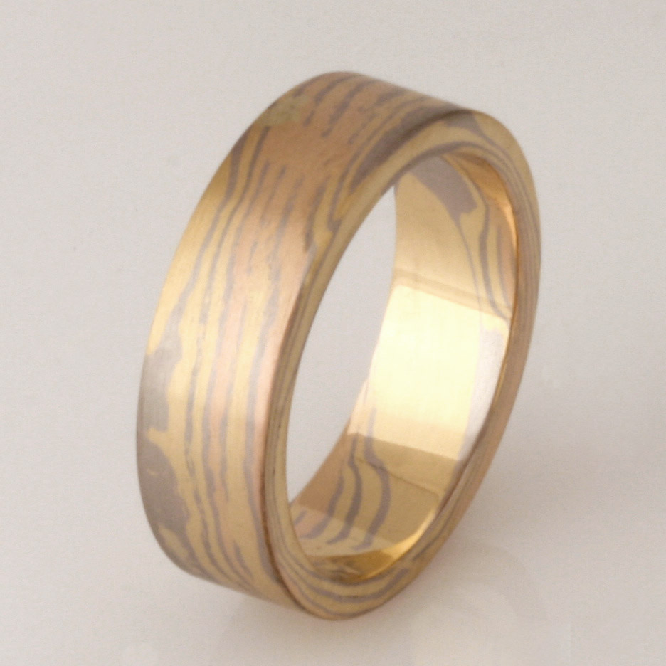 Gents handmade 18ct yellow, rose and white gold Mokume Gane wedding ring