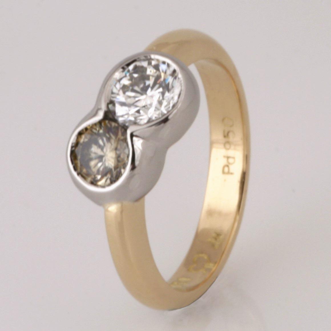 Handmade ladies 18ct yellow gold and palladium olive green and white diamond engagement ring