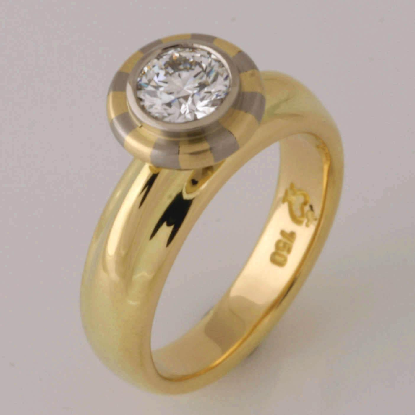 Handmade ladies 18ct yellow and white gold 'Asteios' diamond engagement ring