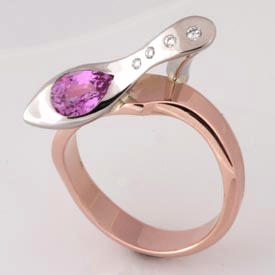 Handmade ladies 18ct rose gold and palladium pink sapphire and diamond 'Shoe' ring