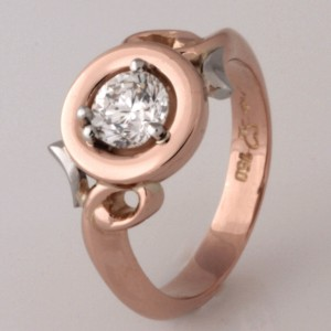 Handmade ladies 18ct rose gold and platinum diamond ring