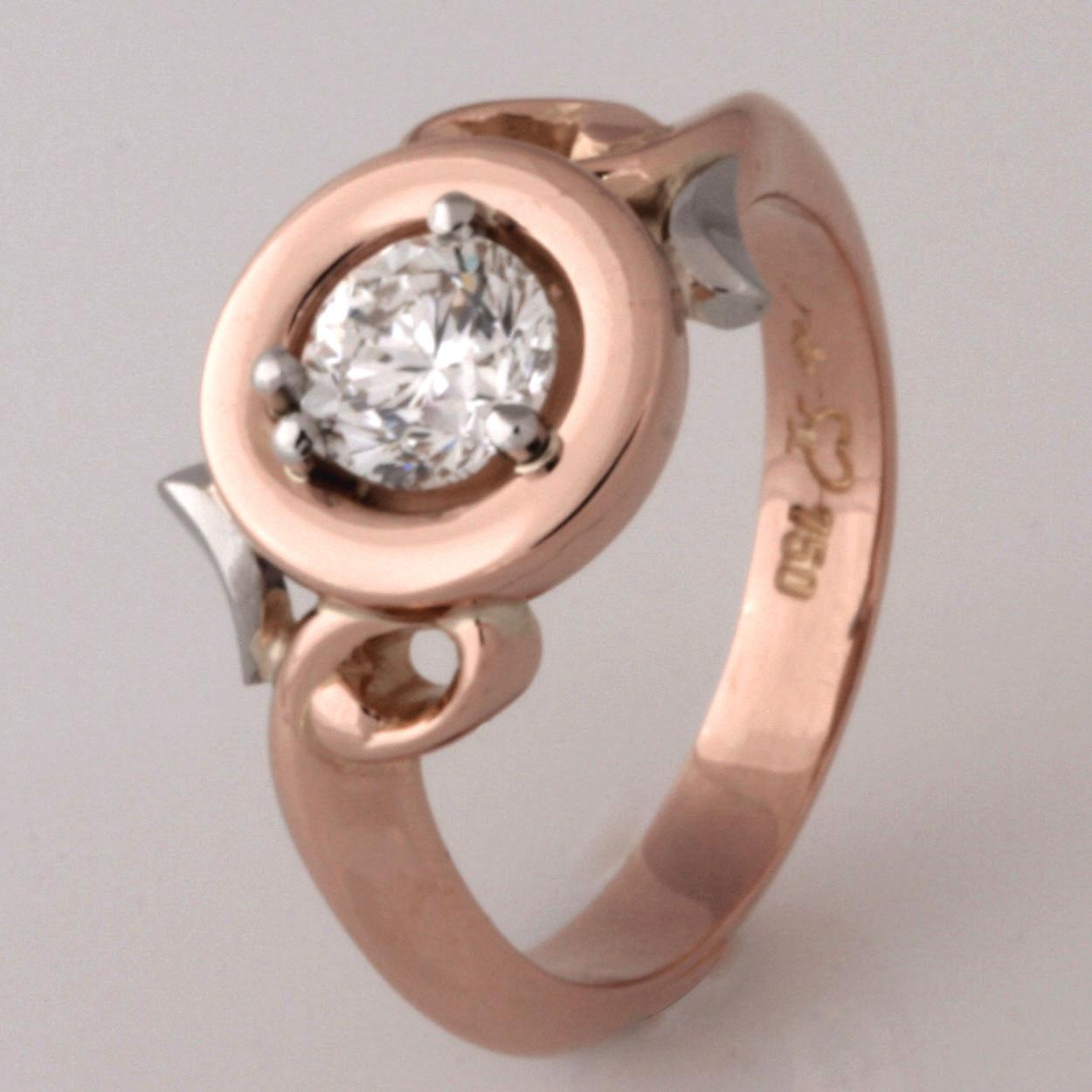Handmade ladies 18ct rose gold and platinum diamond ring