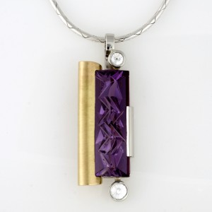 Handmade ladies platinum, palladium and 18ct yellow gold Amethyst and spirit diamond pendant