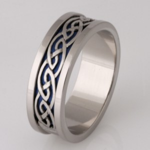 Handmade gents 18ct white gold 'Niobium' wedding ring