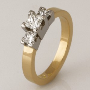 Handmade ladies 18ct yellow and white gold princess cut diamond engagement ring