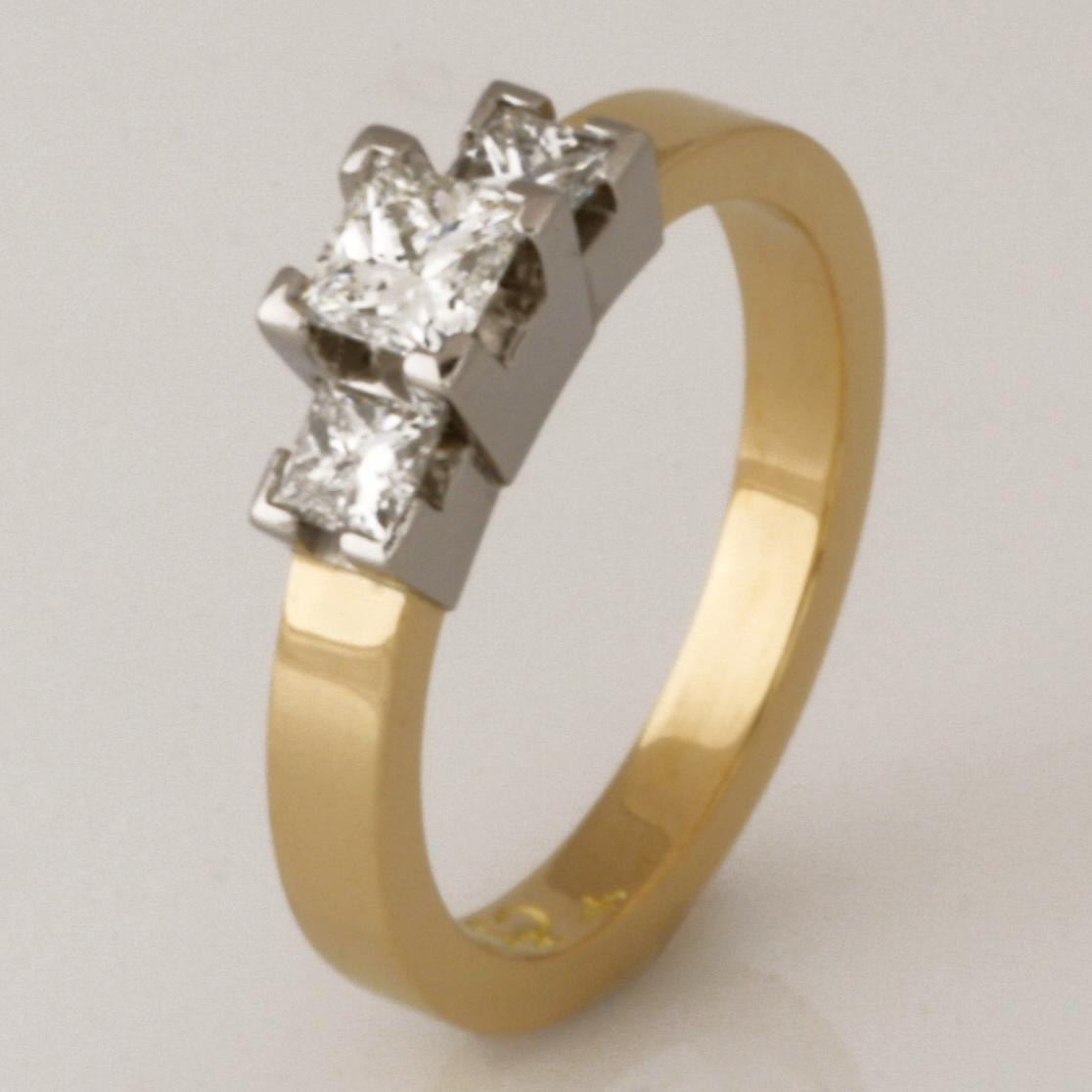 Handmade ladies 18ct yellow and white gold princess cut diamond engagement ring