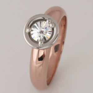 Handmade ladies 18ct rose gold and palladium 'Spirit' cut diamond ring
