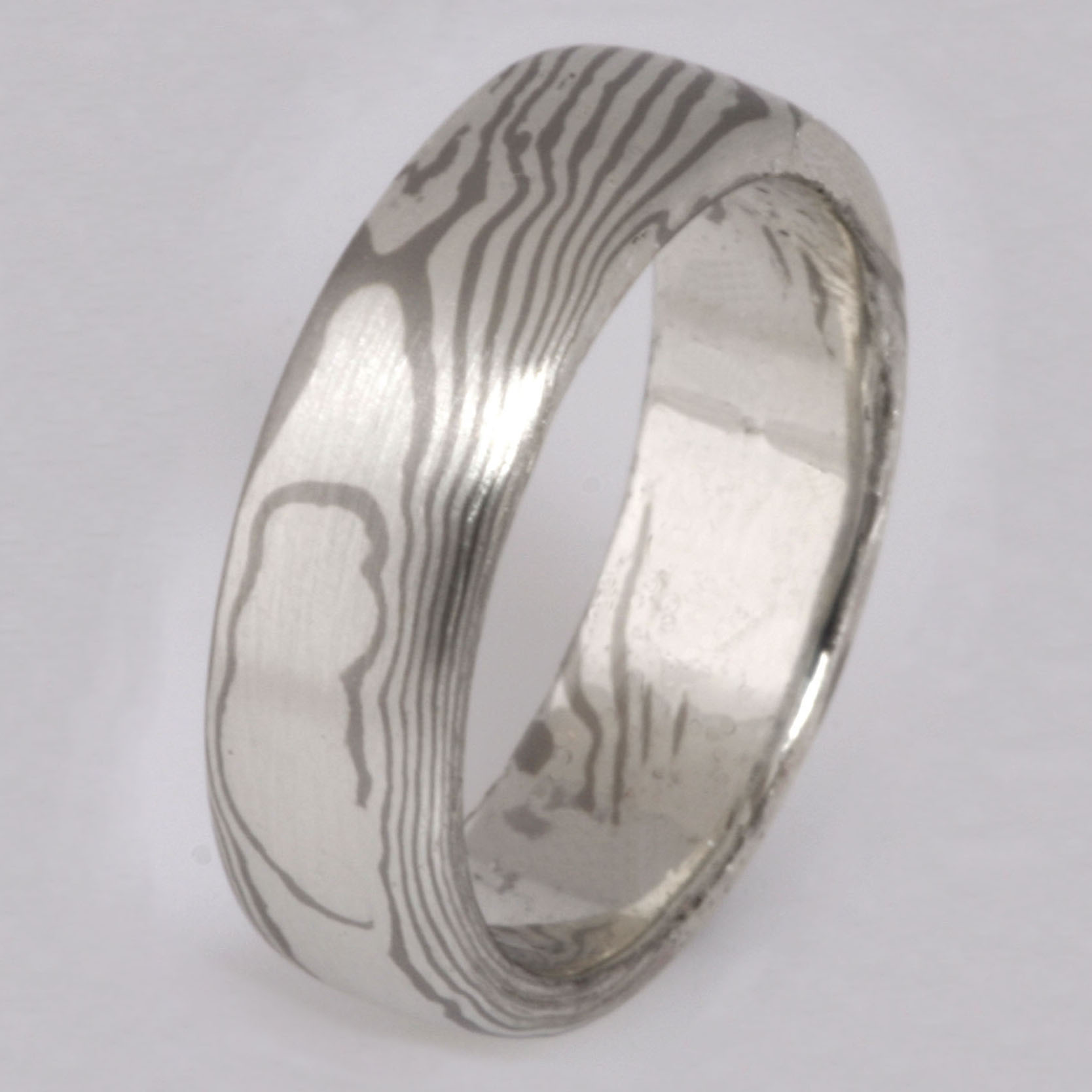 Handmade gents Mokume Gane 18ct white gold and sterling silver wedding ring