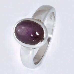 Handmade ladies platinum violet star sapphire ring