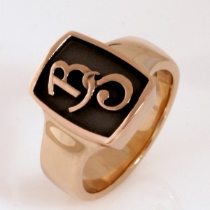 Handmade gents 9ct yellow and rose gold diamond dress ring with sandblasted and ruthenium plated insert
