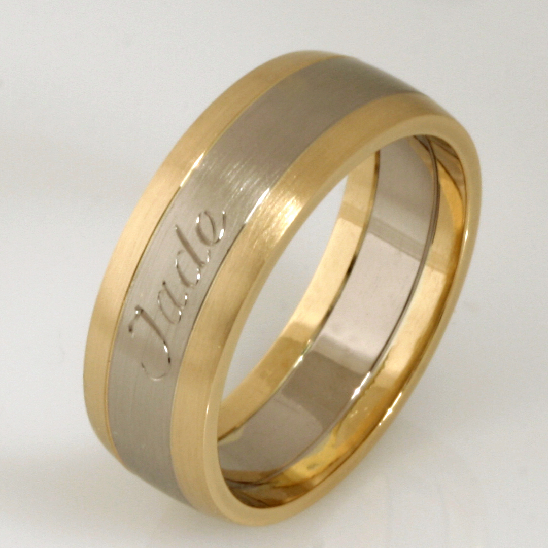 Handmade gents 18ct yellow and white gold engraved wedding ring