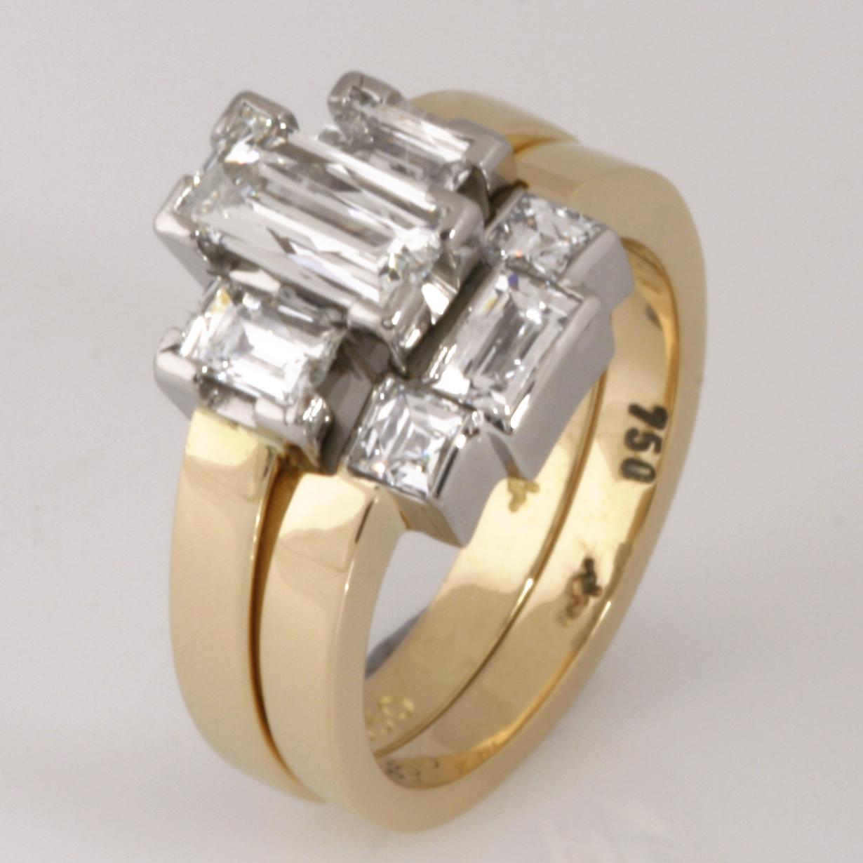 Handmade ladies 18ct yellow gold and palladium 'Tycoon' cut diamond wedding set