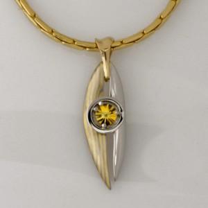 Handmade 18ct yellow and white gold Mokume Gane and palladium pendant featuring a yellow 'Spirit' cut sapphire