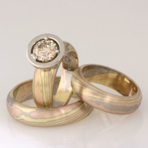 Handmade green, rose and white gold Mokume Gane wedding set