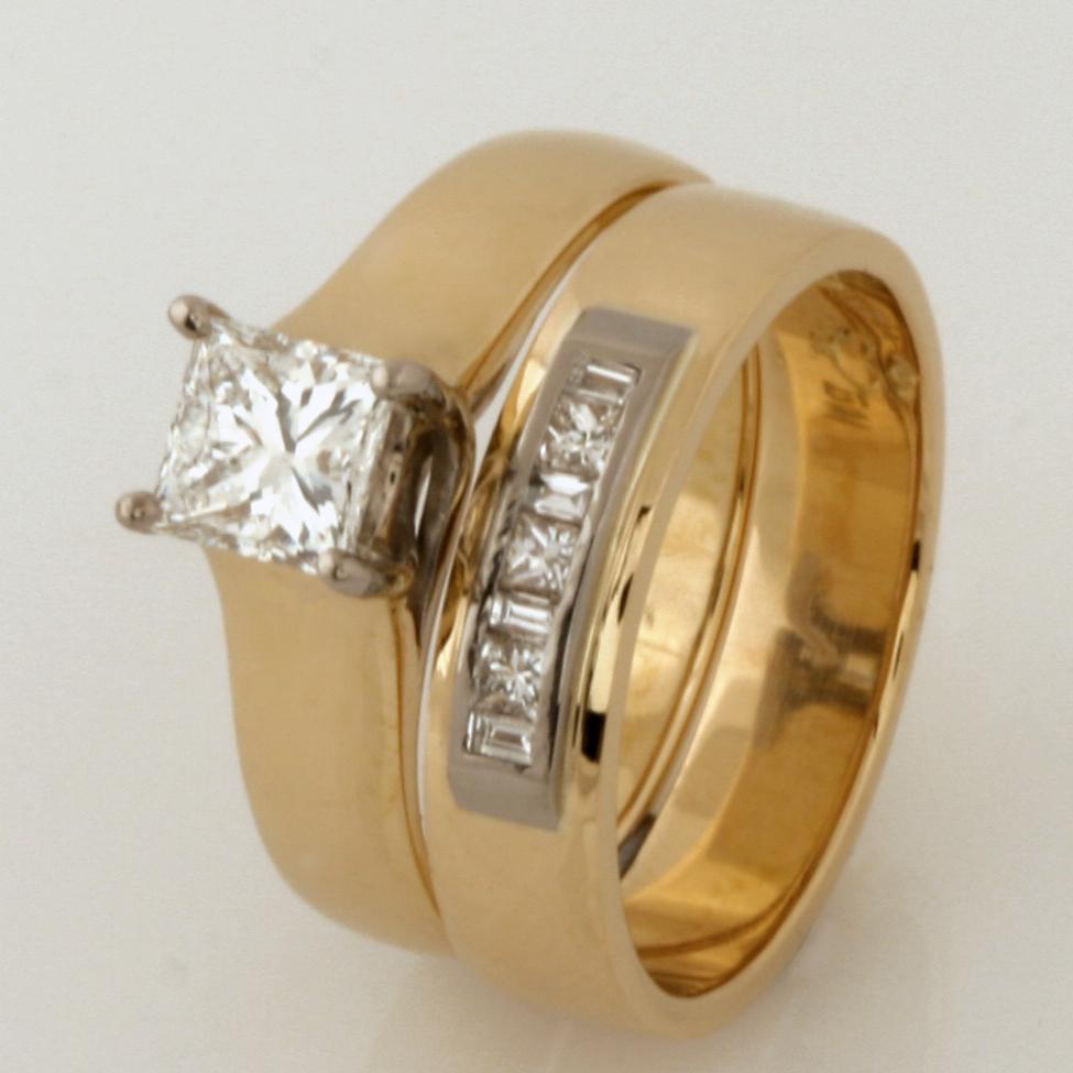 Handmade ladies 18ct yellow and white gold diamond wedding ring set