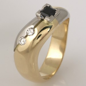 Handmade ladies 18ct yellow gold and palladium sapphire and diamond ring