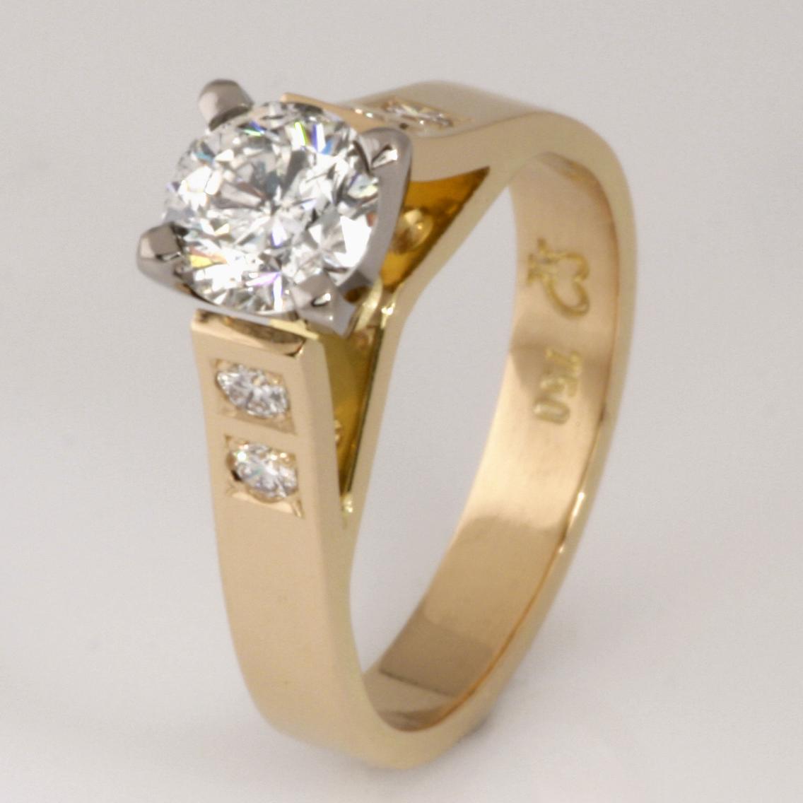Handmade ladies 18ct yellow and white gold brilliant cut diamond engagement ring