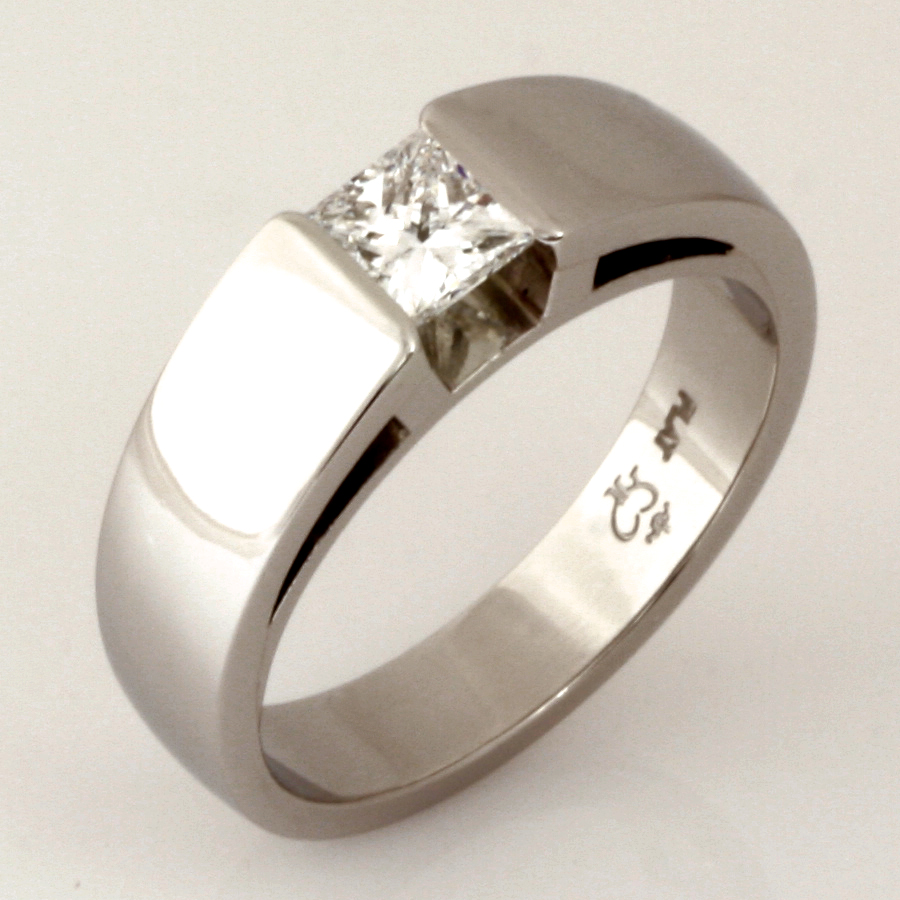 Handmade gents platinum princess cut diamond wedding ring