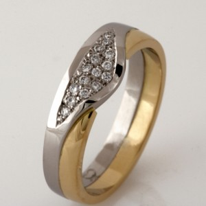 Handmade ladies palladium and 18ct yellow gold diamond wedding ring