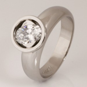 Handmade ladies palladium oval cut diamond engagement ring
