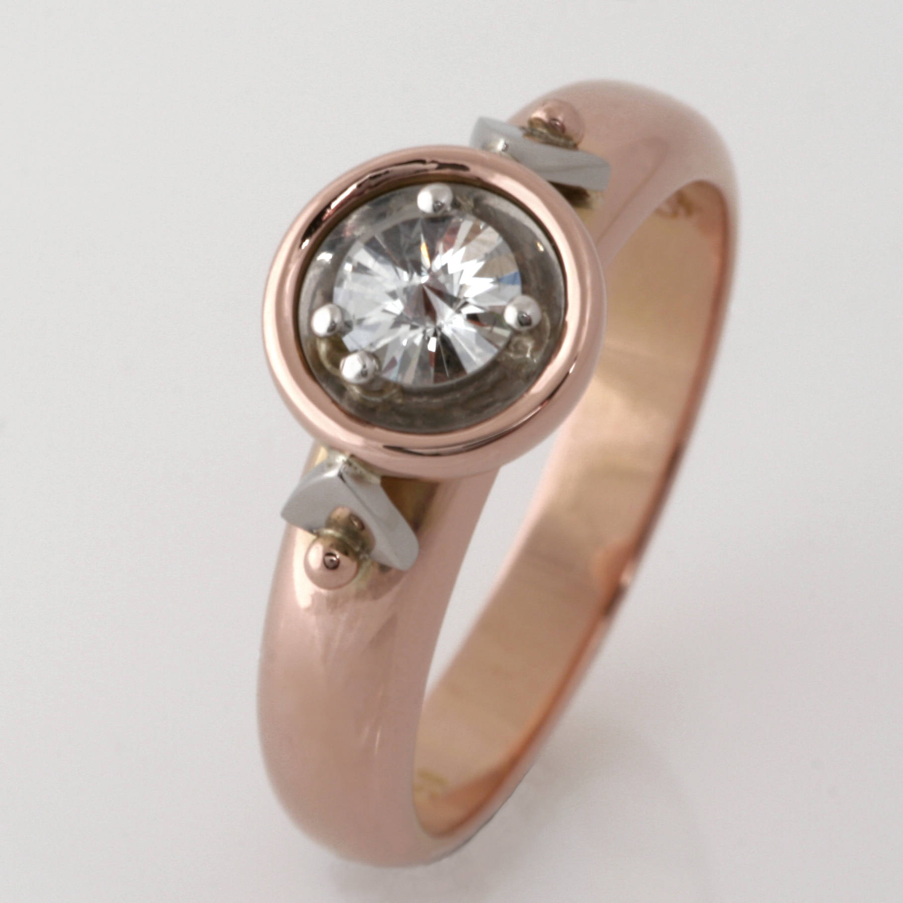 Handmade ladies 18ct rose gold and palladium 'Spirit' cut diamond engagement ring