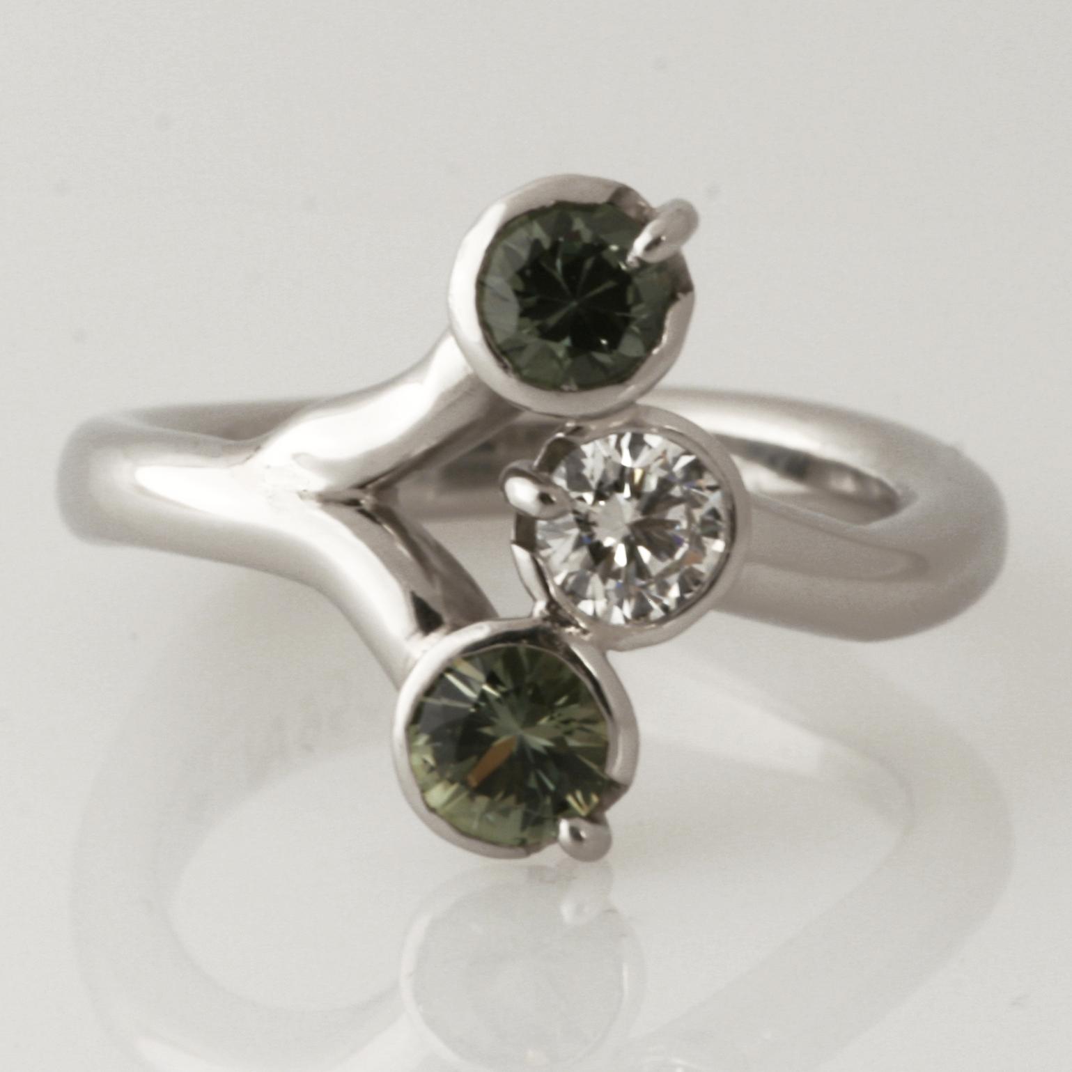 Handmade ladies palladium green sapphire and diamond ring