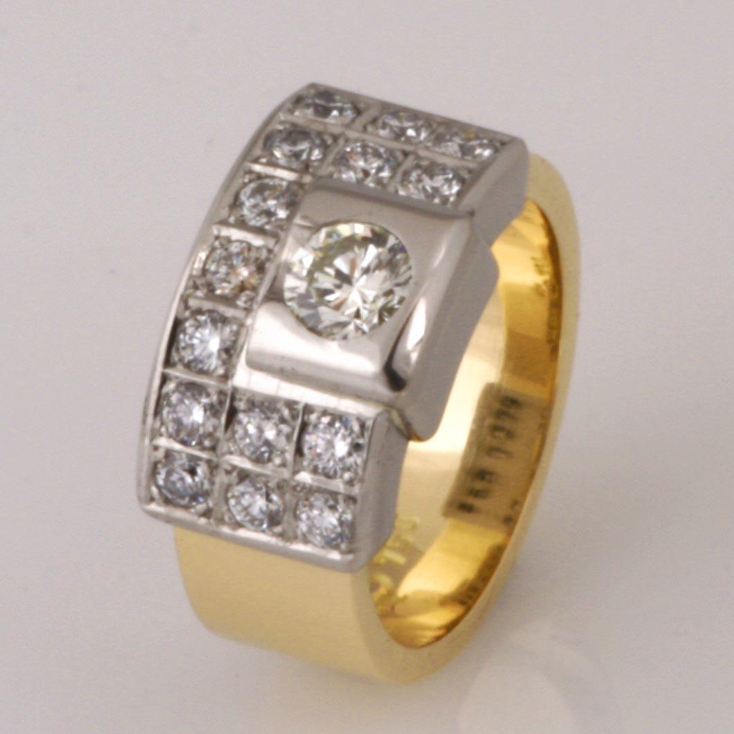 Handmade ladies 18ct yellow and white gold diamond ring
