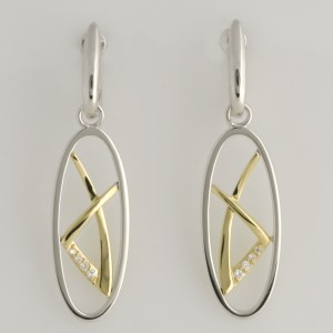 E0154 9ct yellow and white gold oval drop earrings featuring 4 x 0.0075ct, 2 x 0.0065ct & 2 x 0.0055ct diamonds. $835