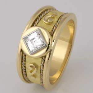 Handmade ladies 18ct yellow, rose and white gold 'Tycoon' cut diamond ring