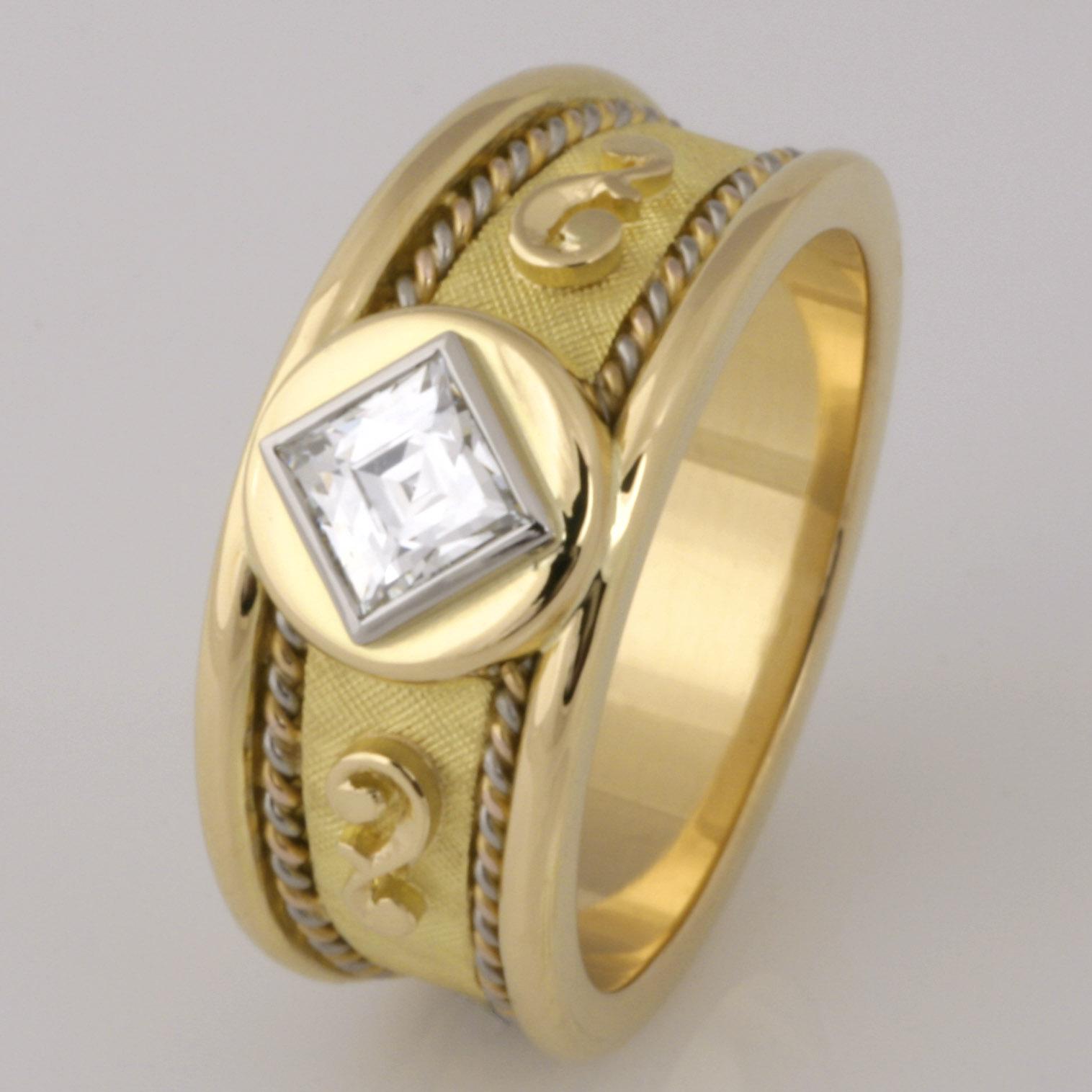 Handmade ladies 18ct yellow, rose and white gold 'Tycoon' cut diamond ring