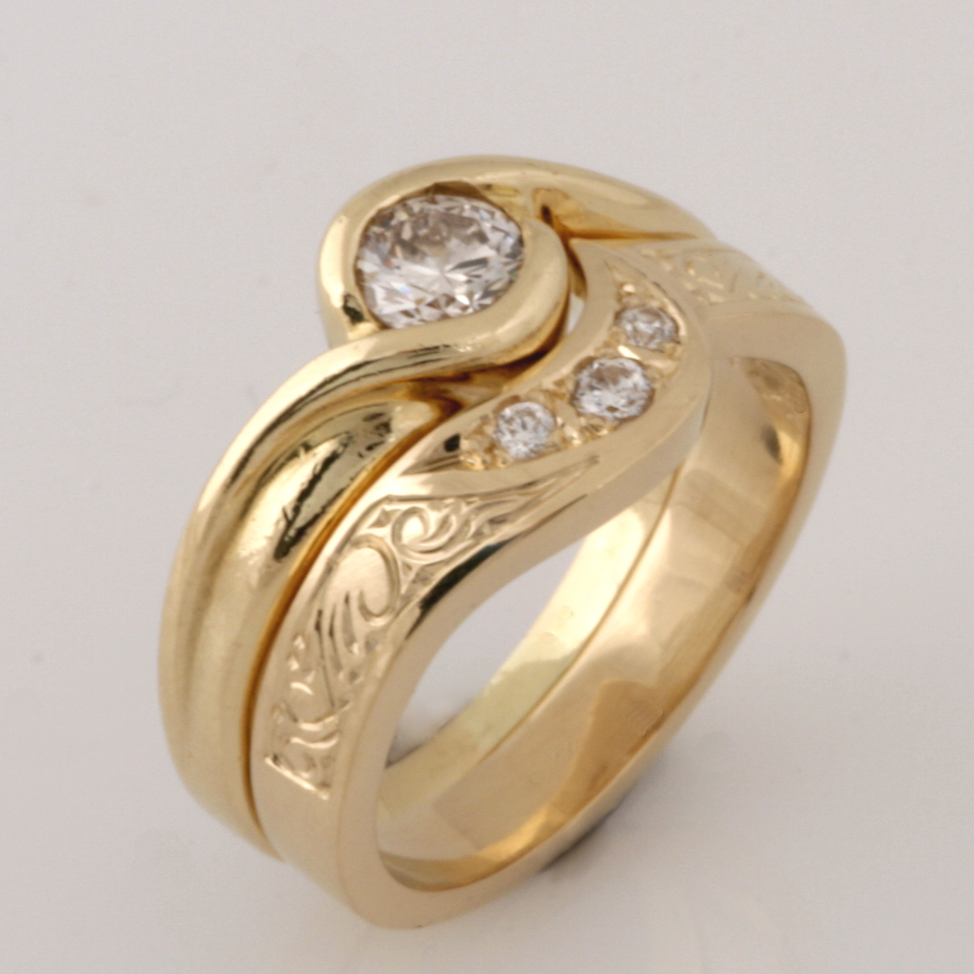 Handmade ladies 18ct yellow gold diamond eternity ring