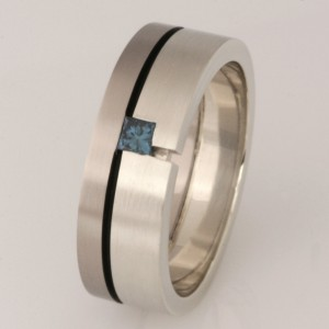 Handmade gents 18ct and 9ct white gold wedding ring with a treated blue princess cut diamond