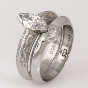 Handmade ladies palladium wedding ring