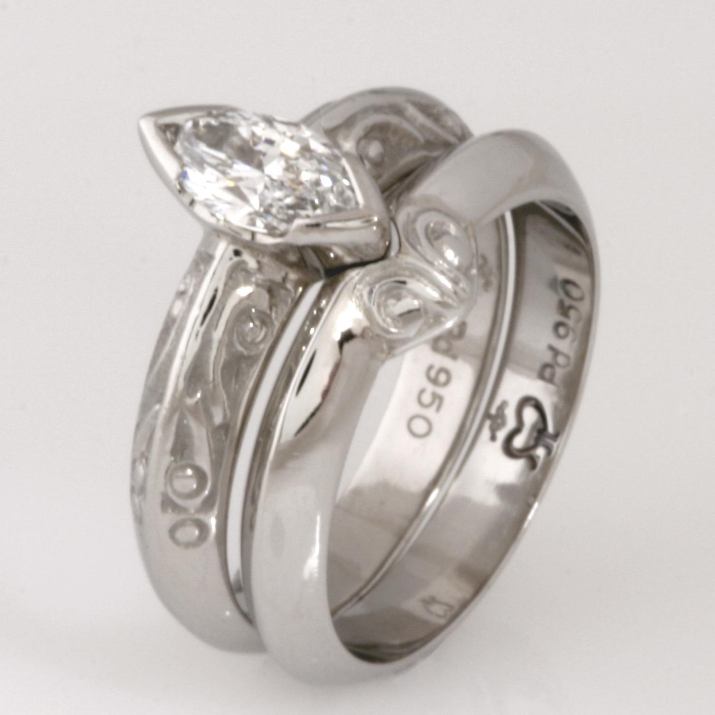 Handmade ladies palladium wedding ring