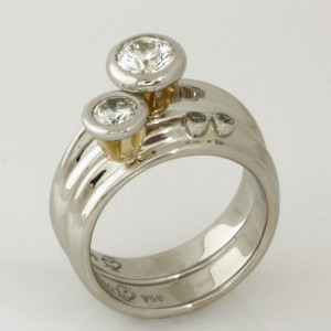 Handmade ladies palladium and 18ct yellow gold diamond engagement and wedding ring set
