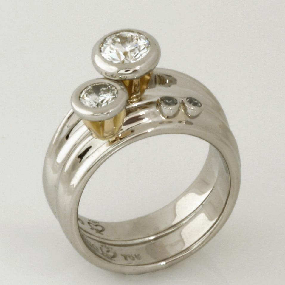 Handmade ladies palladium and 18ct yellow gold diamond engagement and wedding ring set