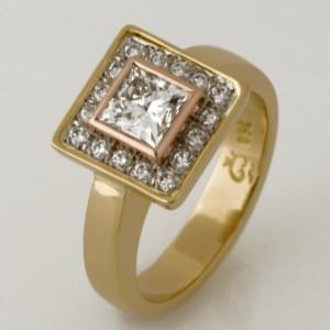 Handmade ladies 18ct yellow and rose gold diamond ring