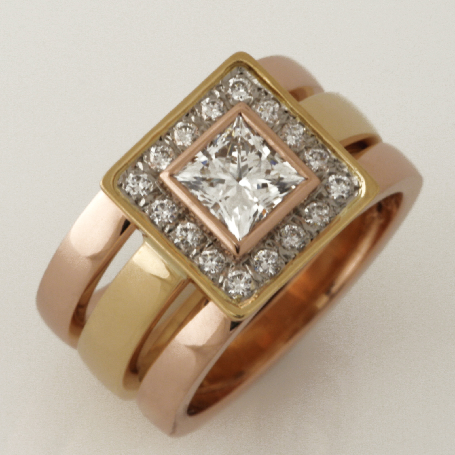 Handmade ladies 18ct yellow gold and rose gold diamond split wedding ring set