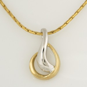 Handmade ladies 14ct yellow and white gold pendant